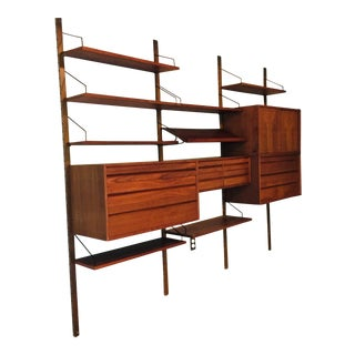 1960 Poul Cadovius Royal System Teak Wall Unit With Original Paperwork For Sale