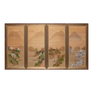 1950s Shōwa Era Japanese Four Seasons Silk Byobu Screen For Sale