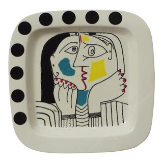 Hand-Painted Picasso Style Modern Charger or Platter