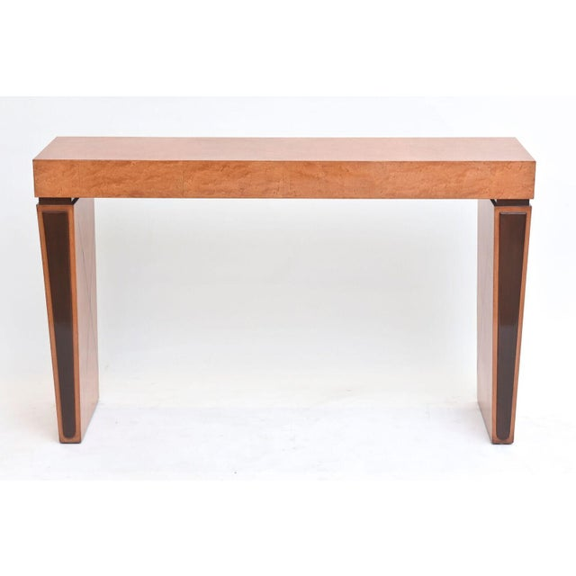 1930s Art Deco Burled Walnut and Mahogany Inlaid Console Table, France For Sale - Image 5 of 10