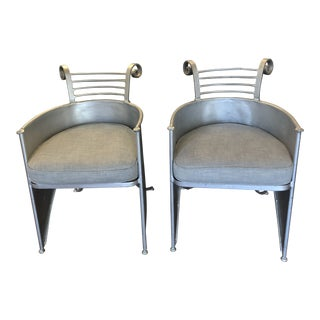 Pair of Artist Forged Iron Chairs With Cushions For Sale