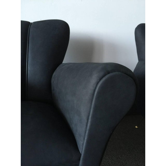Italian Pair of Italian Armchairs in Petroleum Blue Calfskin Leather For Sale - Image 3 of 6