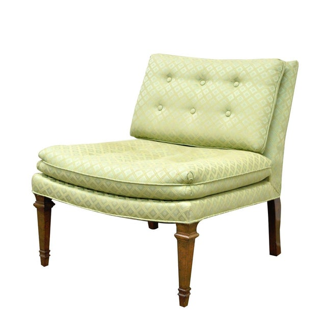 Vintage Hollywood Regency Green Upholstered & Wood Slipper Accent Side Chair For Sale - Image 10 of 10