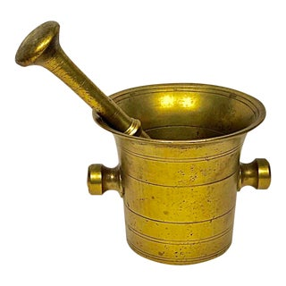 Mid 20th Century Brass Mortar and Pestle For Sale