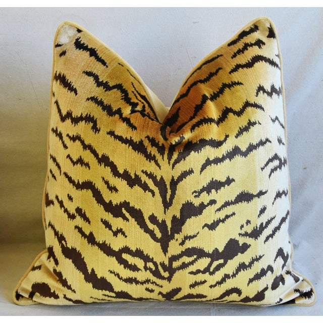 """Late 20th Century Scalamandre Le Tigre Tiger Silk Velvet Feather/Down Pillows 23"""" Square - Pair For Sale - Image 5 of 10"""