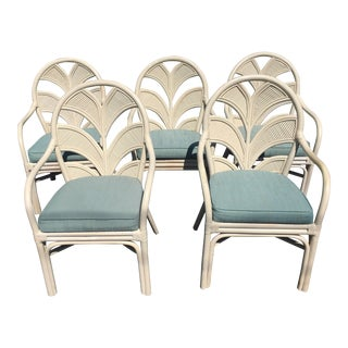 1970s Vintage Rattan Mid Century Chairs- Set of 5 For Sale
