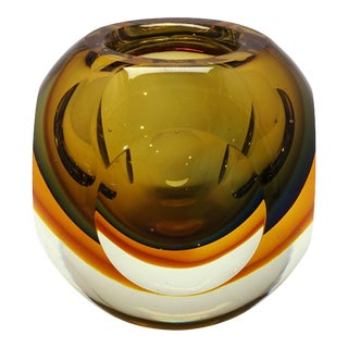 Flavio Poli Seguso Murano Golden Faceted Orb Trinket Dish Paperweight For Sale