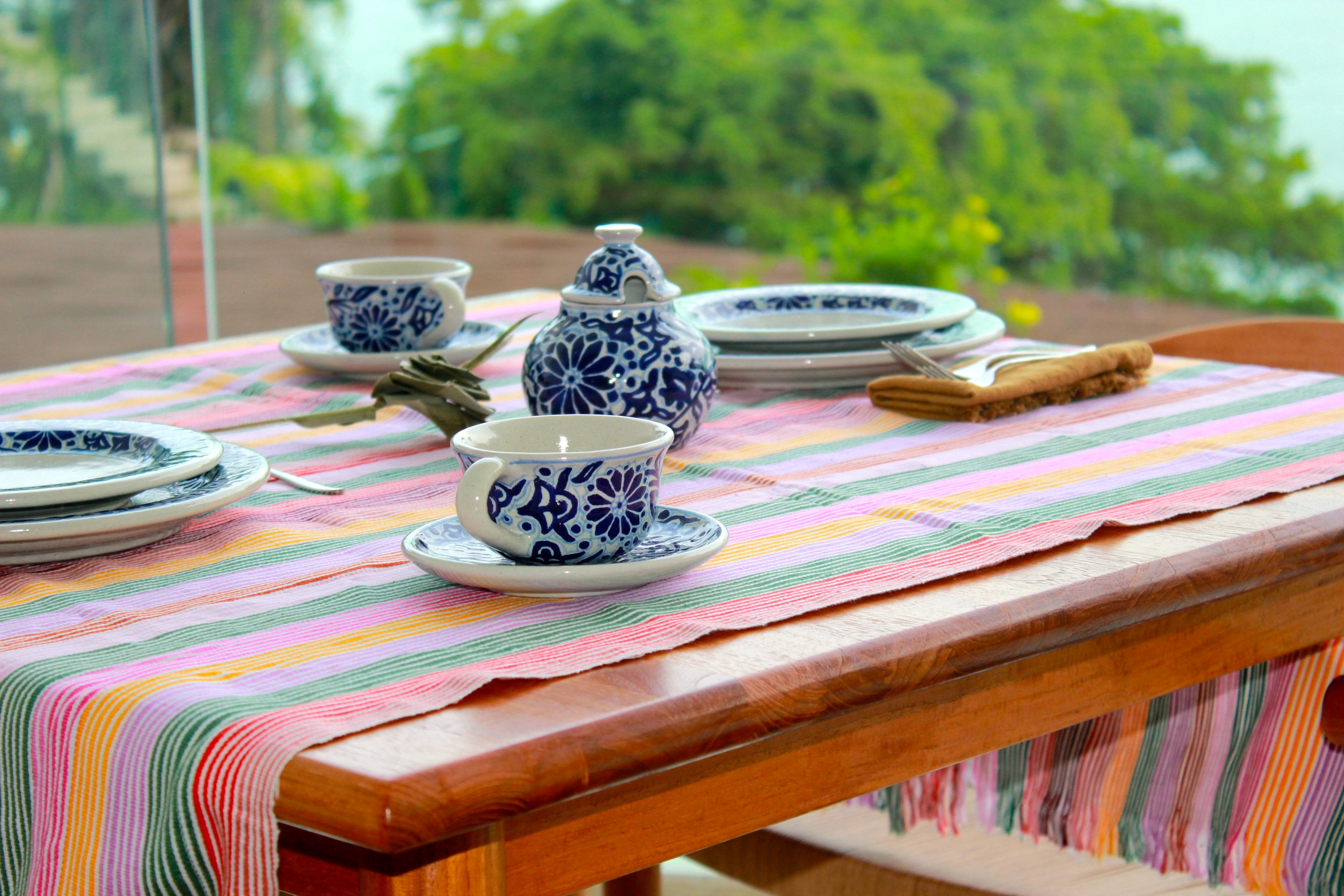 Mexican Colorful Handwoven Striped Tablecloth   Image 6 Of 6
