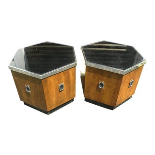 1970s Mid Century Modern 6 Sided End Tables - a Pair For Sale