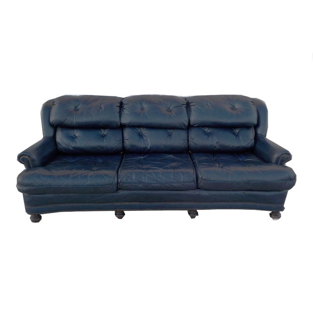 Vintage Tufted Blue Leather Chesterfield Sofa - Image 1 of 7