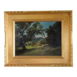 """Circa 1905 """"Cows Against an Oak"""" Landscape Oil Painting by Mary Belle Williams, Framed For Sale"""