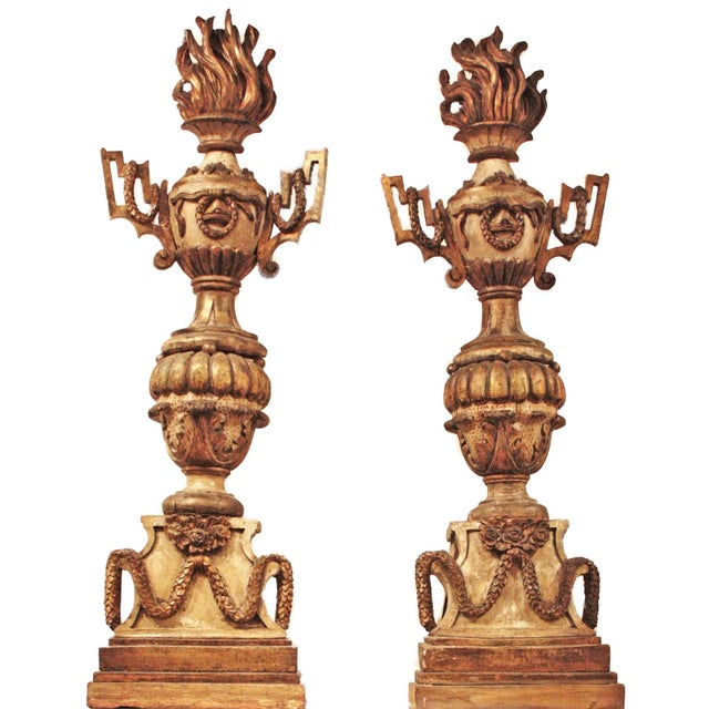 "A pair of 18th century carved wood polchrome flaming urns / torchieres 51"" H x 15.25"" W x 8.5"" D $14,995.00 pair of faux..."
