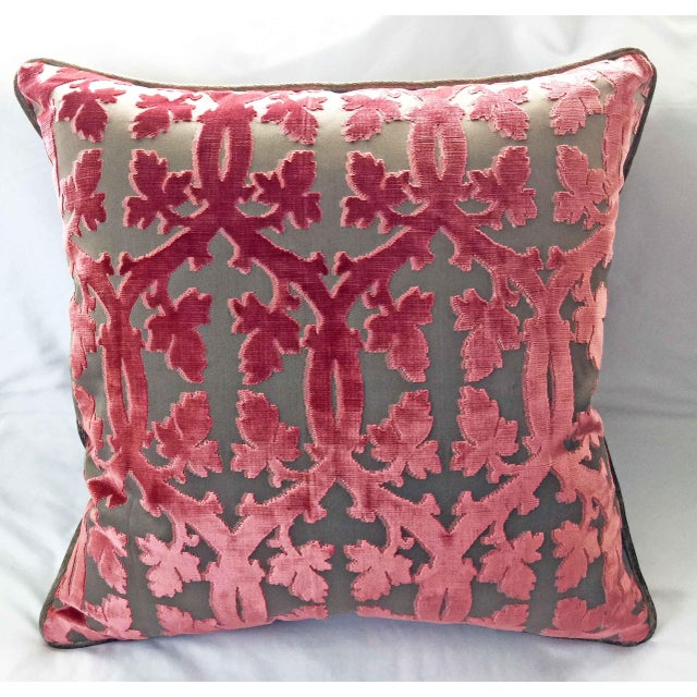 Custom designed Scalamandre Falk Manor House cut Velvet Pillow. The color is Rose on Taupe. No.009 Product ID: 26690 This...