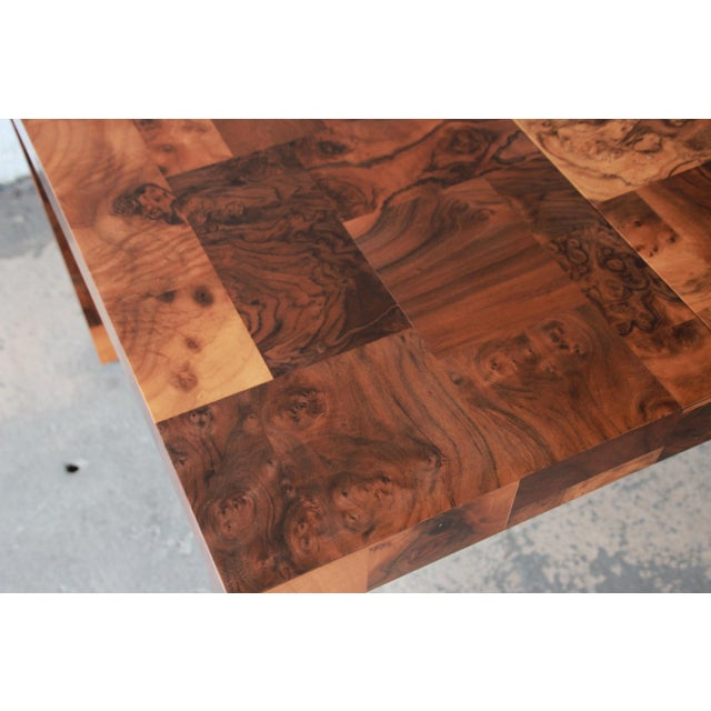 Paul Evans for Directional Patchwork Burl Wood Parsons Extension Dining Table For Sale - Image 11 of 13