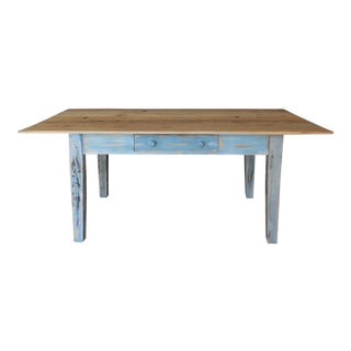 Reclaimed Thin Board Rustic Farm Dining Table For Sale