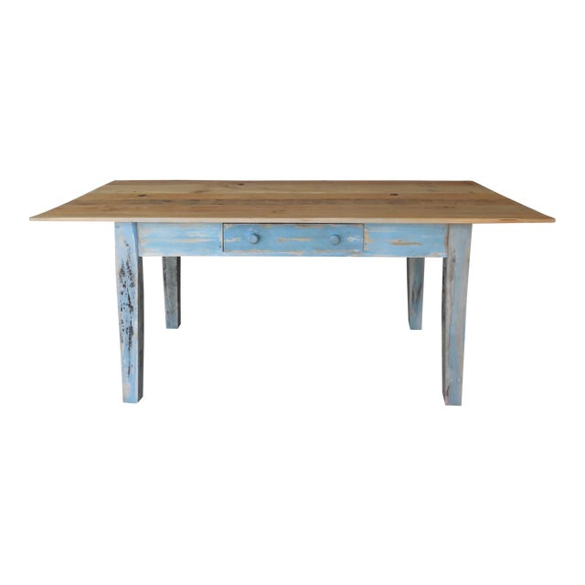 Reclaimed Thin Board Rustic Farm Dining Table - Image 1 of 8