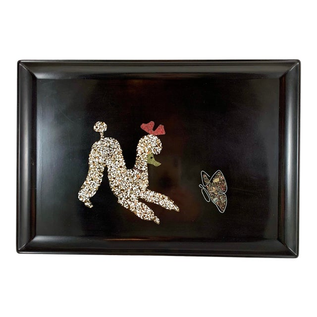 Mid-Century Modern Couroc Poodle & Butterfly Inlay Serving Tray For Sale