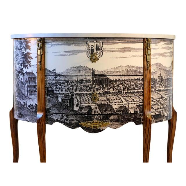 Antique Gustavian Bureau With Black & White Landscape (DaVinci Collection) For Sale - Image 4 of 4