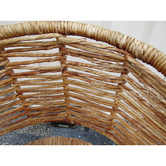 Brown Vintage Woven Rattan Bar Stools / Counter Stools - a Pair For Sale - Image 8 of 12