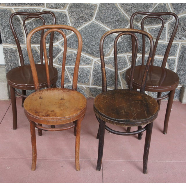 1940s Antique Thonet Model 18 Cafe Chairs - Set of 4 For Sale - Image 13 of 13