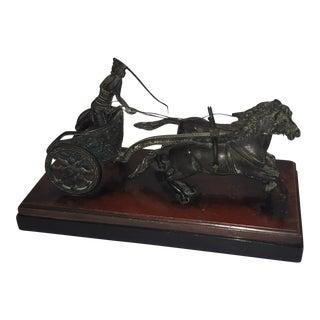 Antique Neoclassical Bronze Chariot Sculpture For Sale