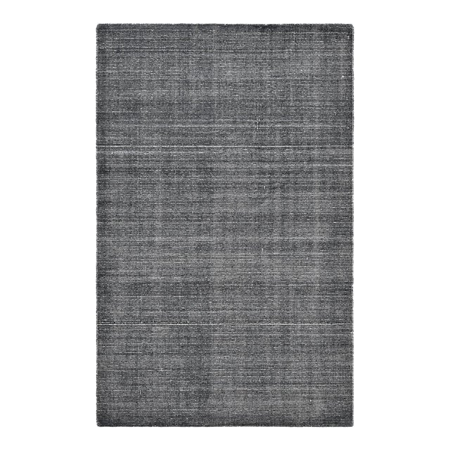 Halsey, Contemporary Solid Hand Loomed Area Rug, Charcoal, 5 X 8 For Sale