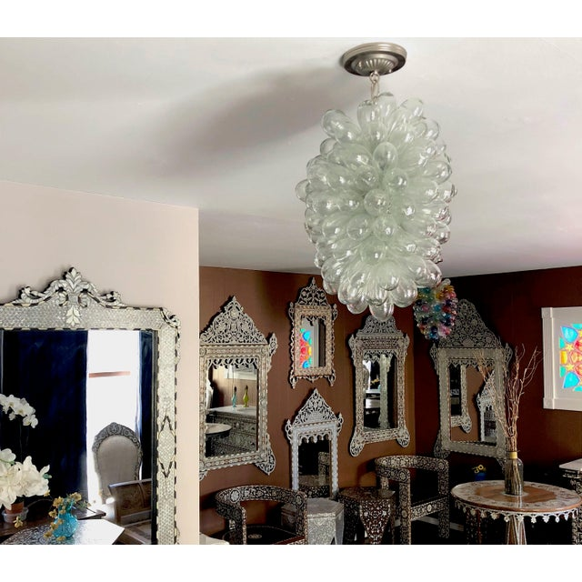 Contemporary Clear Handblown Glass Light Fixture For Sale - Image 3 of 10