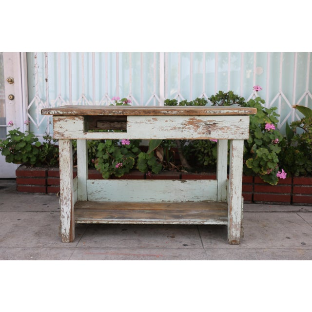 1950s Rustic Distressed Farm Table For Sale - Image 10 of 10