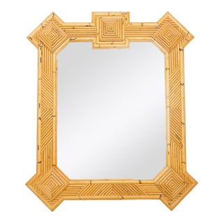 1970s Maurizio Mariani for Vivai Del Sud Roma Rattan Bamboo Mirror For Sale