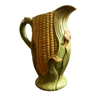 Vintage Olfaire Majolica Corn Pitcher For Sale