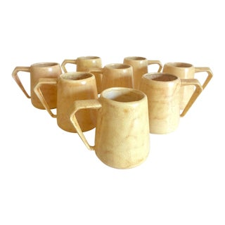 Vintage 1964 Mid Century Modern Studio Pottery Butter Yellow Handled Ceramic Mugs - Set of 8 For Sale