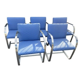 Mies Van Der Rohe Polished Steel Brno Flat Bar Chairs - Set of 5 For Sale