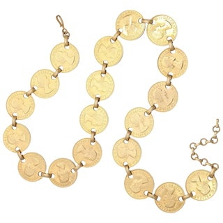 "60s ""Gold""Coin Belt or Necklace For Sale"