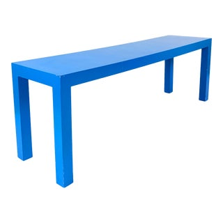 Vintage 1970s Bright Blue Solid Wood Parsons Bench For Sale