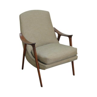 Westnofa Danish Modern Teak Upholstered Lounge Chair