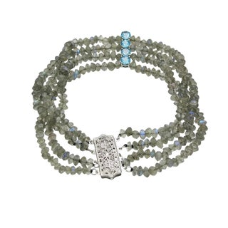 4 Strand Labradorite Bead Bracelet With Blue Zircon Spacers For Sale