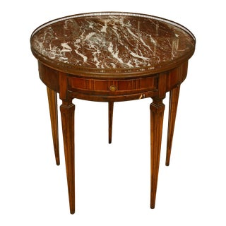Louis XVI Style Marble Bouillotte Table with Inlay For Sale