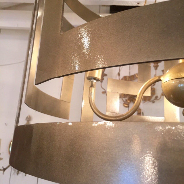 2010s Handcrafted Greek Key Motif Drum Chandeliers - a Pair For Sale - Image 5 of 7