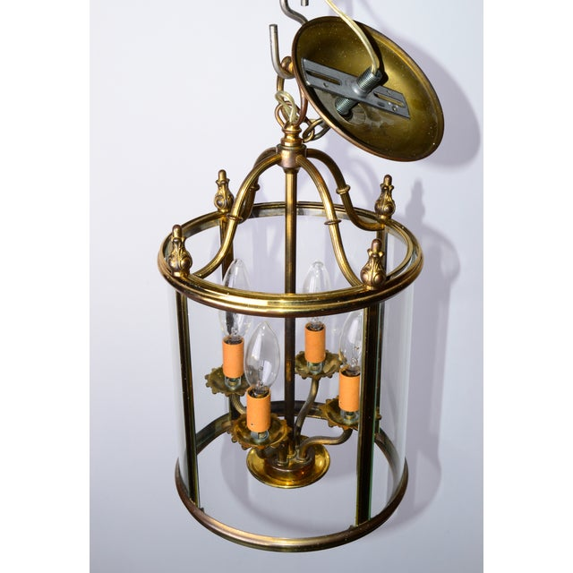 Round 4-Light Glass & Brass Chandelier - Image 3 of 8