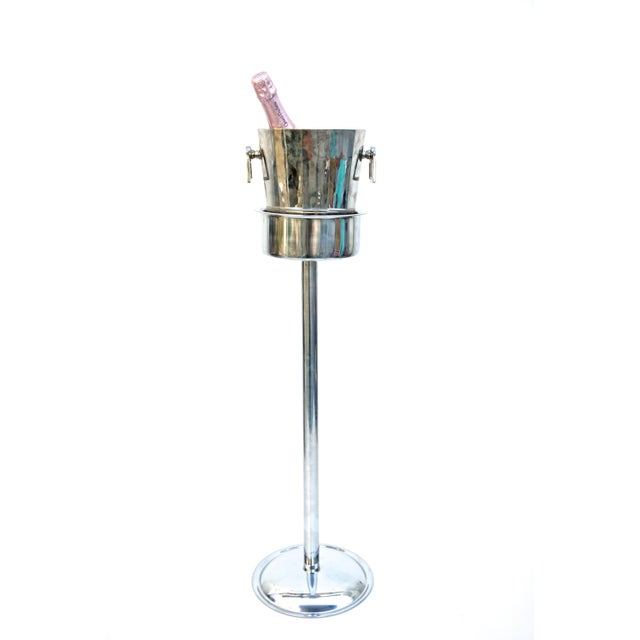 Art Deco Silver Geometric Champagne Chiller & Stand - Image 6 of 10