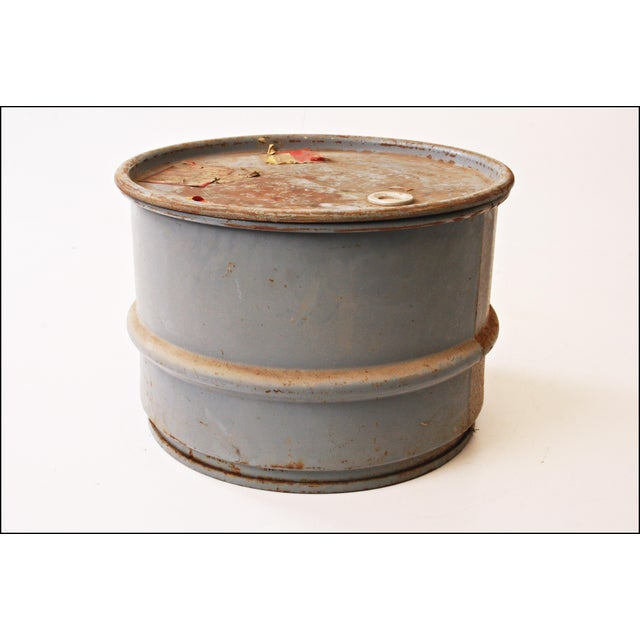 Vintage Industrial Gray Metal Barrel with Lid - Image 5 of 11