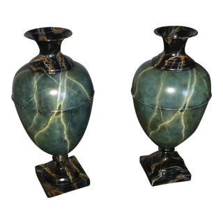 Faux Marble Hand Painted Urns - a Pair For Sale