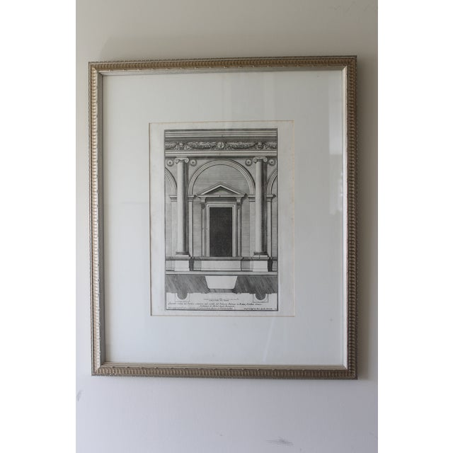 Early 19th Century Antique Architectural Portico of the Palace Fornese Rome Print For Sale - Image 11 of 11