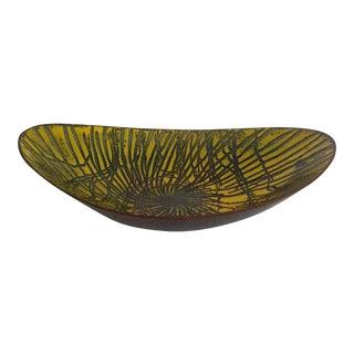 Decorative Yellow Enamel Almond Shaped Bowl For Sale