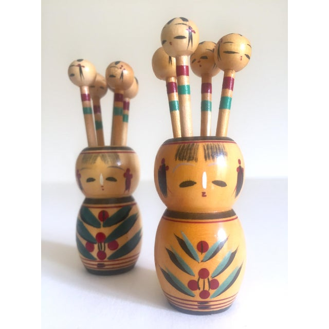 Vintage Mid Century Japan Rare Kokeshi Hand Painted Wood Hors d'Oeuvre Picks / Cocktail Skewers - 11pc Set For Sale - Image 11 of 13