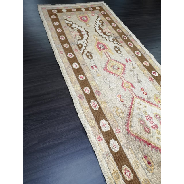 Textile Turkish Contemporary Hand-Knotted Oushak Runner Rug For Sale - Image 7 of 10