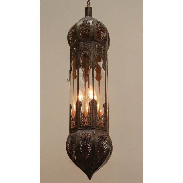 Large Pair of Metal and Clear Glass Moorish Moroccan Light Pendants For Sale In Los Angeles - Image 6 of 7