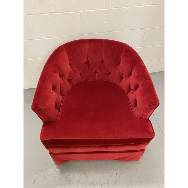 1960s 1960s Red Velvet Button Tucked Arm Chair For Sale - Image 5 of 6