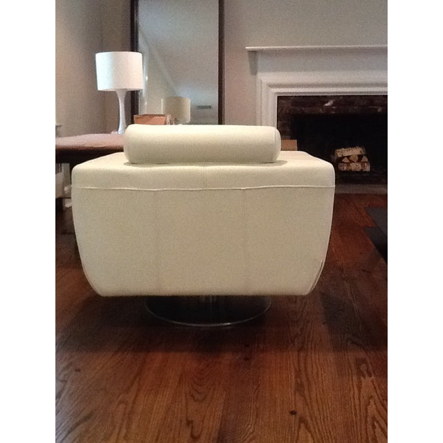 Italian Leather Cigar Swivel Chairs - a Pair For Sale - Image 5 of 5