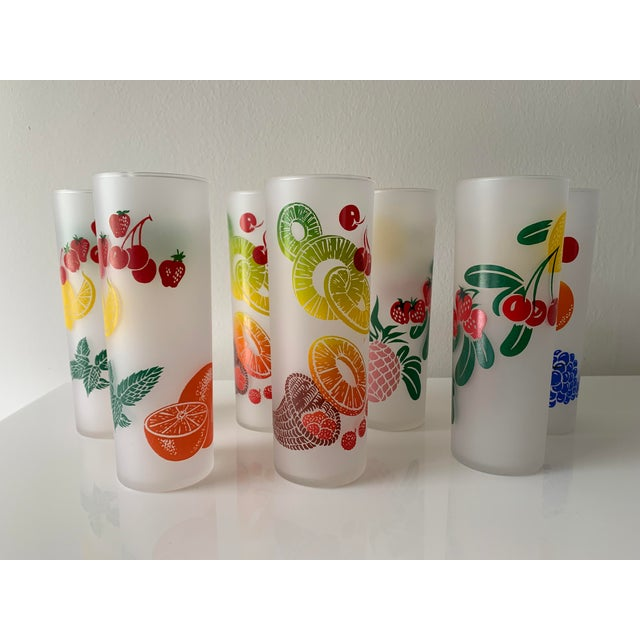 Vintage mid century colorful fruit glasses by Federal glass. Frosted glass.